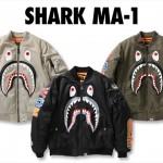 A BATHING APEからシャークモチーフを配したMA-1「SHARK MA-1」が1/27発売 (ア ベイシング エイプ)
