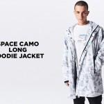 A BATHING APEから宇宙をイメージした蓄光プリント「スペースカモ」で仕上げたロング丈のフーディジャケット「SPACE CAMO LONG HOODIE JACKET」が1/19発売 (ア ベイシング エイプ)