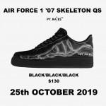 """10/25発売予定!ナイキ エア フォース 1 07 ロー QS """"スケルトン"""" ブラック (NIKE AIR FORCE 1 07 LOW QS """"Skeleton"""" Black) [BQ7541]"""