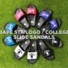 A BATHING APEからカレッジロゴ、BAPESTA ロゴがそれぞれプリントされた「SLIDE SANDALS」が6/1発売 (ア ベイシング エイプ)